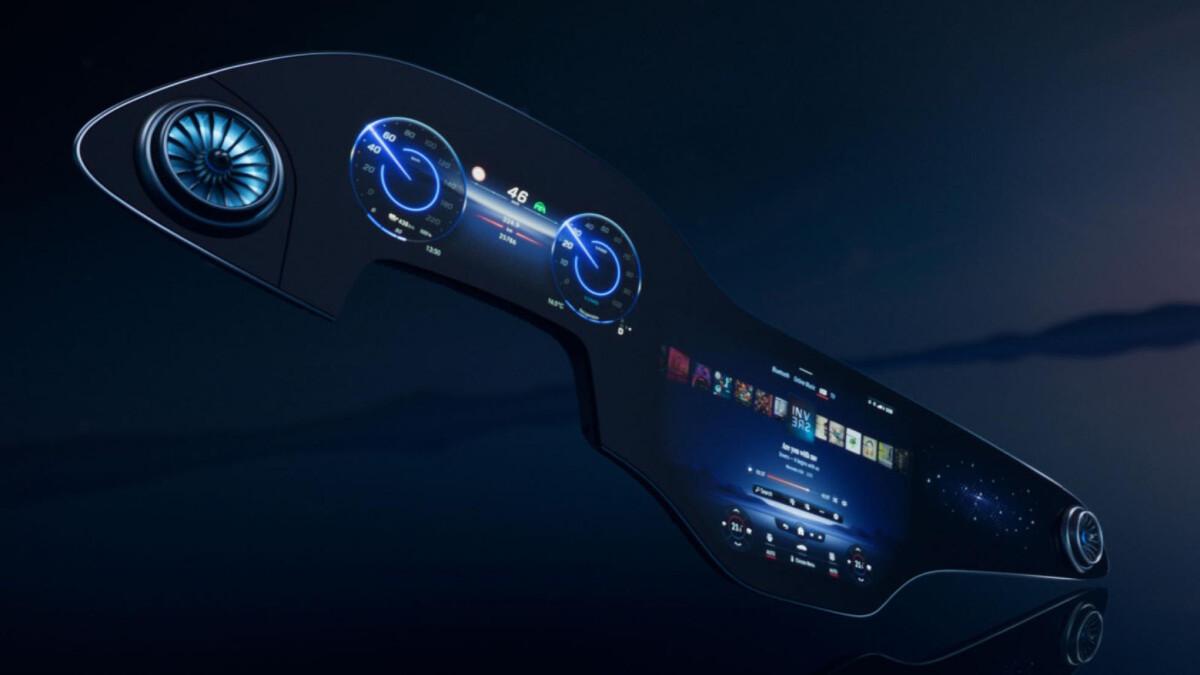 The Mercedes Benz EQS Hyperscreen