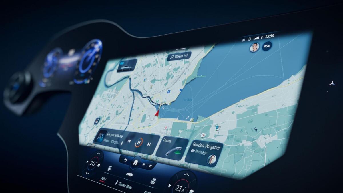 Navigation as displayed through the Mercedes-Benz EQS Hyperscreen