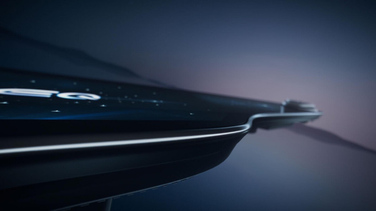 The sleek design of the Mercedes-Benz EQS Hyperscreen