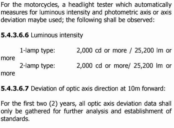 MVIS headlight guidelines for Motorcycles - LTO