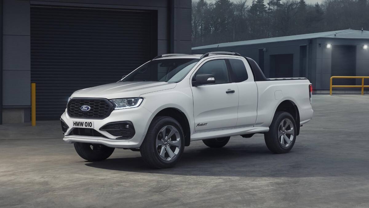 The 2021 Ford Ranger MS-RT - White, Front Angle