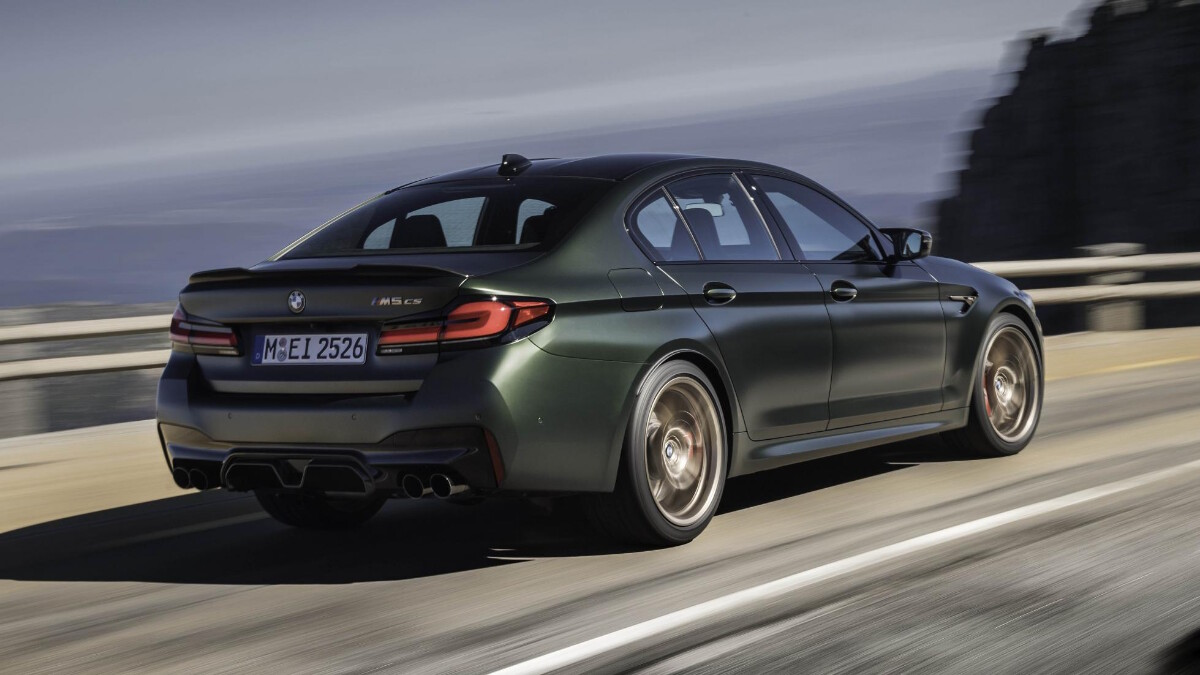 BMW M5 CS - On the road, angled rear view