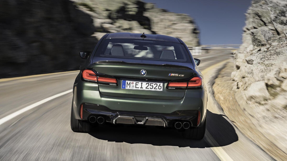 BMW M5 CS - On the road, rear view