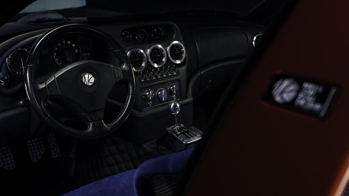 The Ferrari Breadvan Hommage - Interior, dashboard, and steering wheel