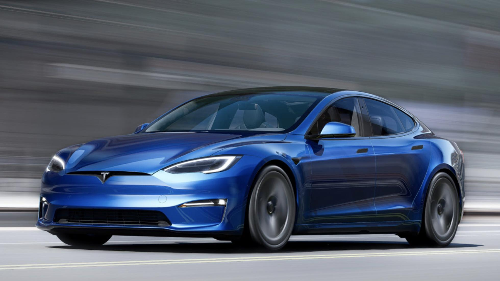 The Tesla Model S  - Blue, On the Road