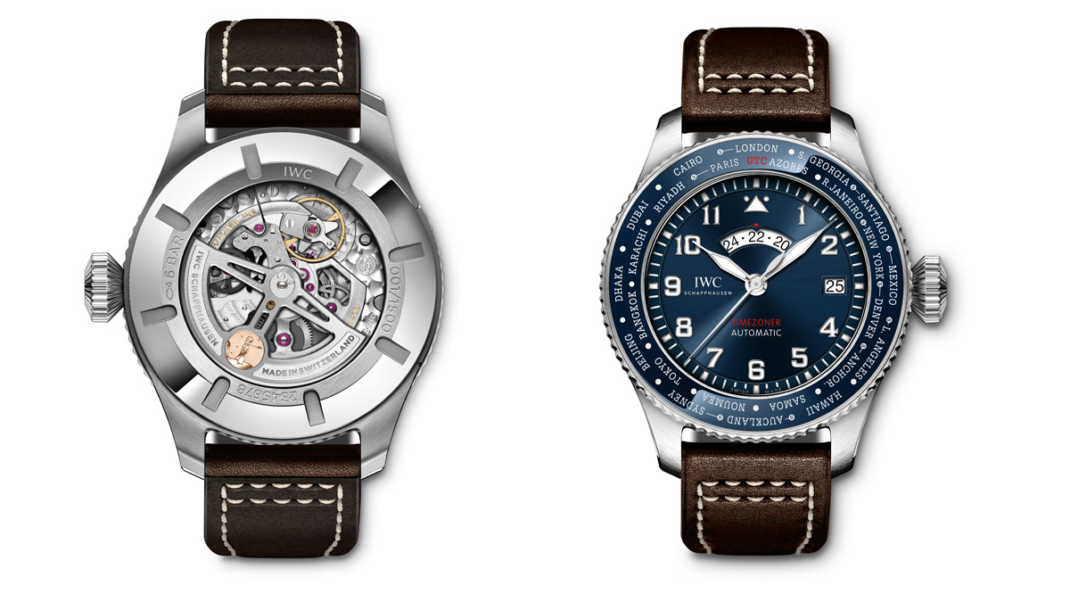 """The IWC """"Le Petit Prince"""" Pilot's Watch Timezoner Edition - Back and Front View"""