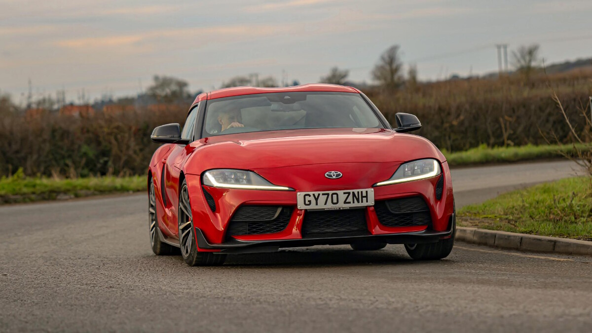 2021 Toyota Supra 2.0 front view on the road