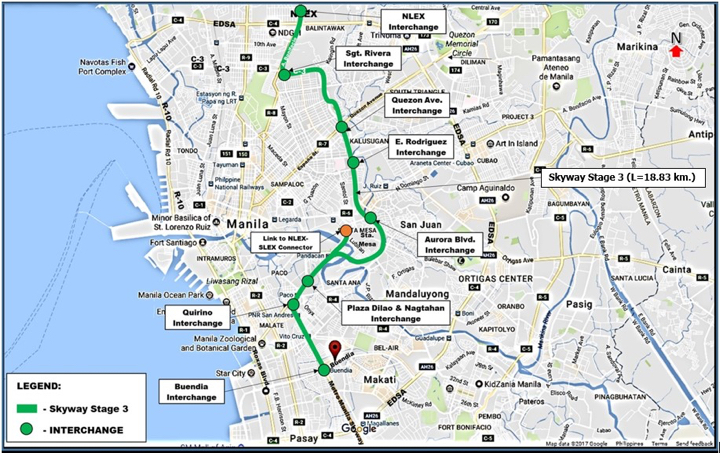 Skyway Stage 3 map in Metro Manila