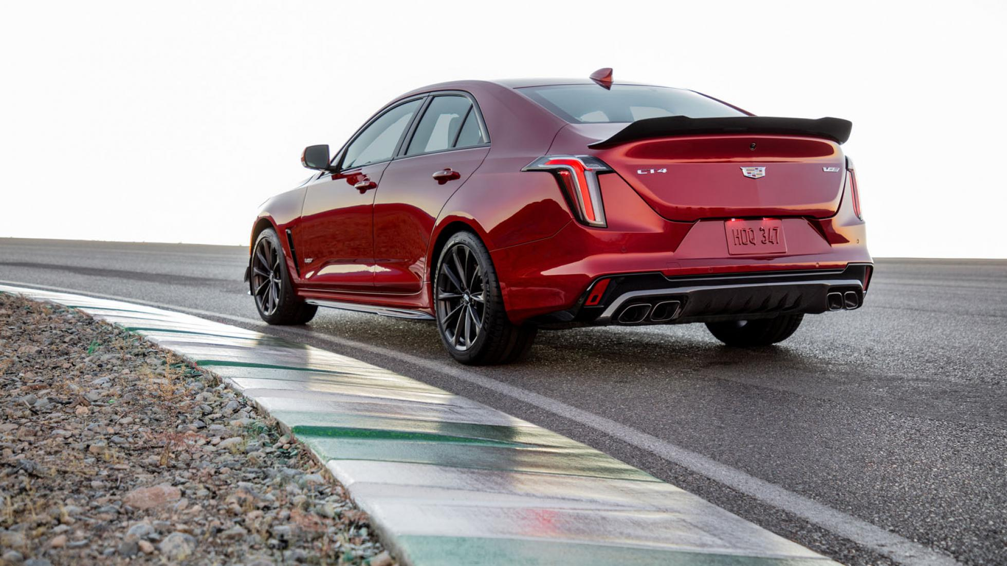 Cadillac CT4-V Blackwing (red) - Rear Angled View