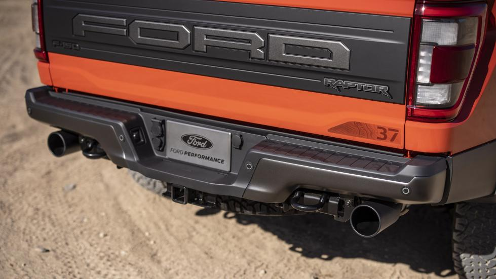 The Ford F-150 Raptor - Rear View with Truck Bed and Exhaust Feature