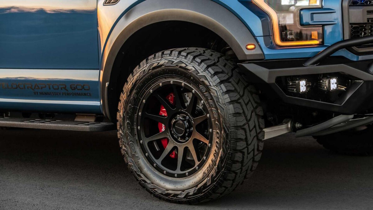 The Hennessey VelociRaptor front tire details