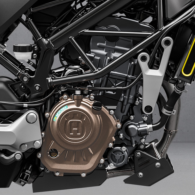 The 2021 Husqvarna Svartpilen 125 engine detail