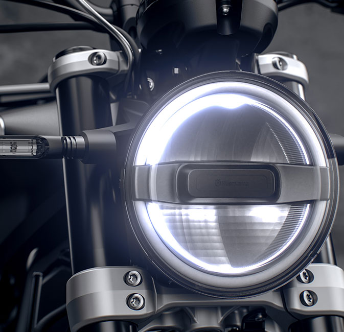 The 2021 Husqvarna Svartpilen 125 headlamp detail