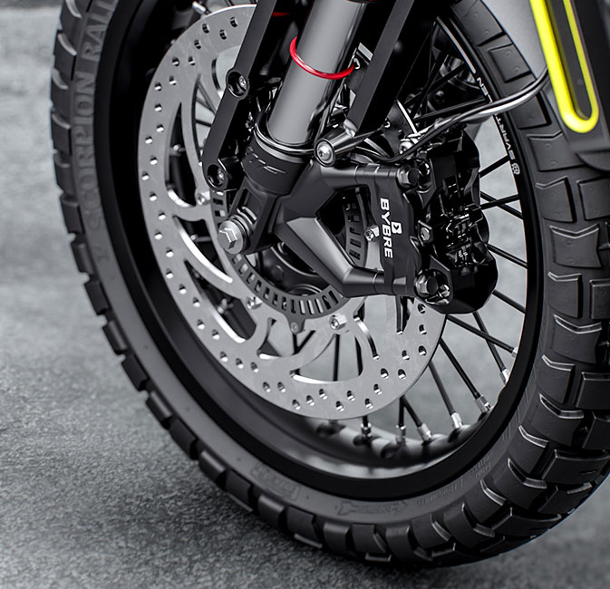 The 2021 Husqvarna Svartpilen 125 wheel system detail