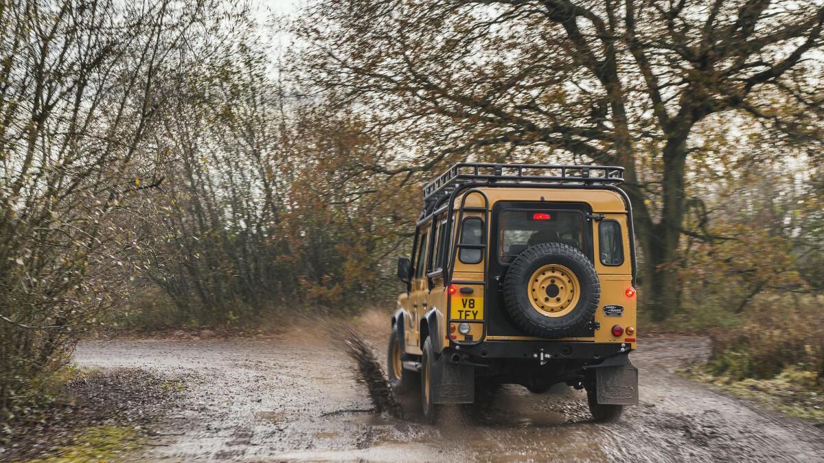The Land Rover Defender V8 Trophy rear view