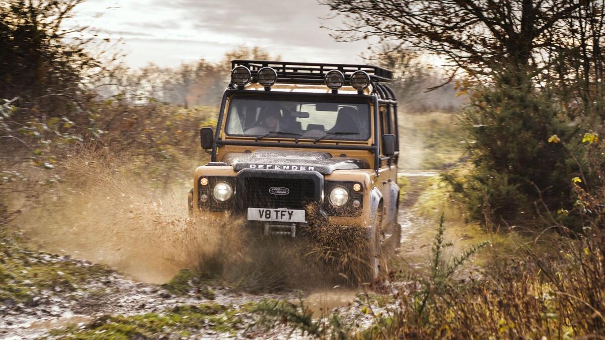 The Land Rover Defender V8 Trophy offroad