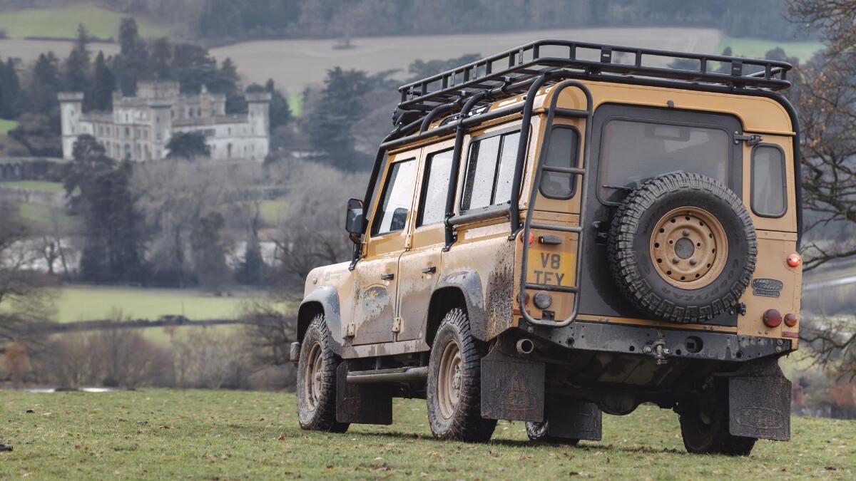 Mud-covered Land Rover Defender V8 Trophy