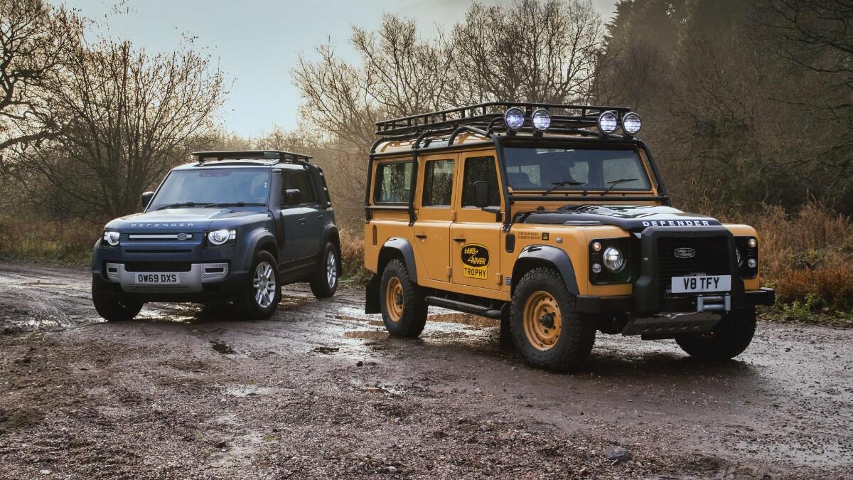 The Land Rover Defender V8 Trophy side by side