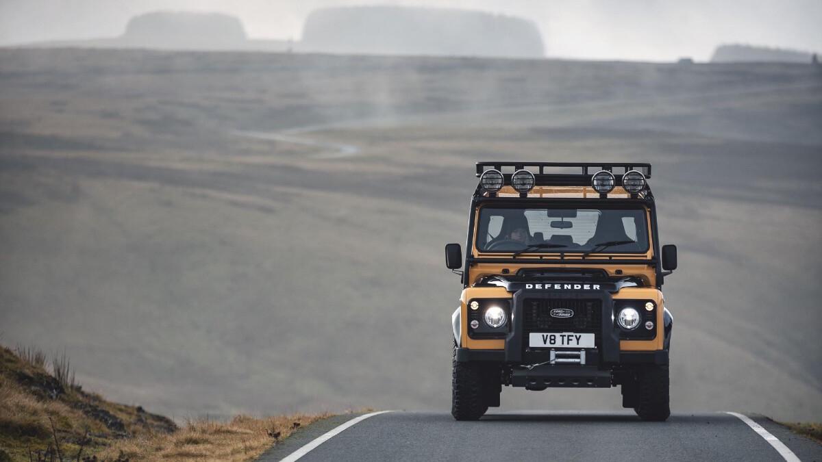 The Land Rover Defender V8 Trophy front view