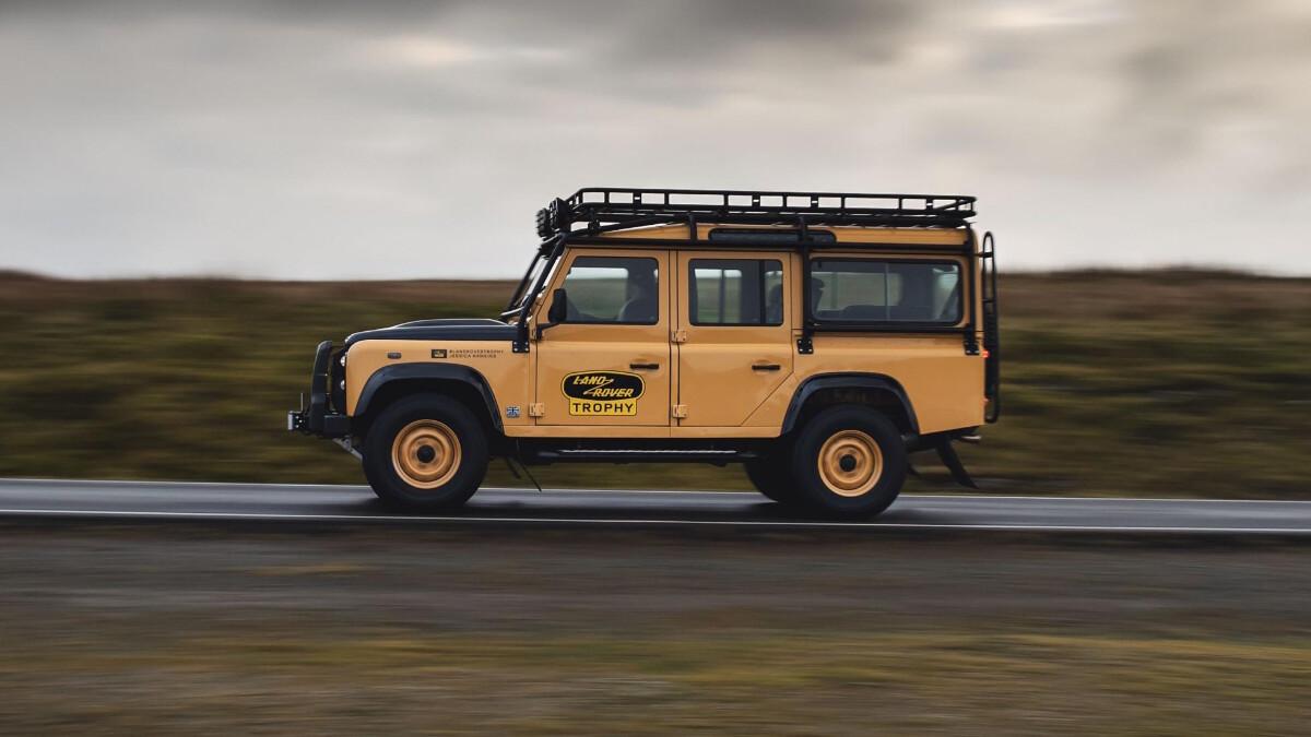 The Land Rover Defender V8 Trophy profile on the road