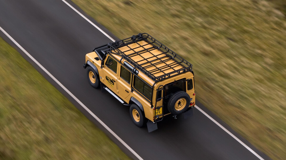 The Land Rover Defender V8 Trophy bird's eye view