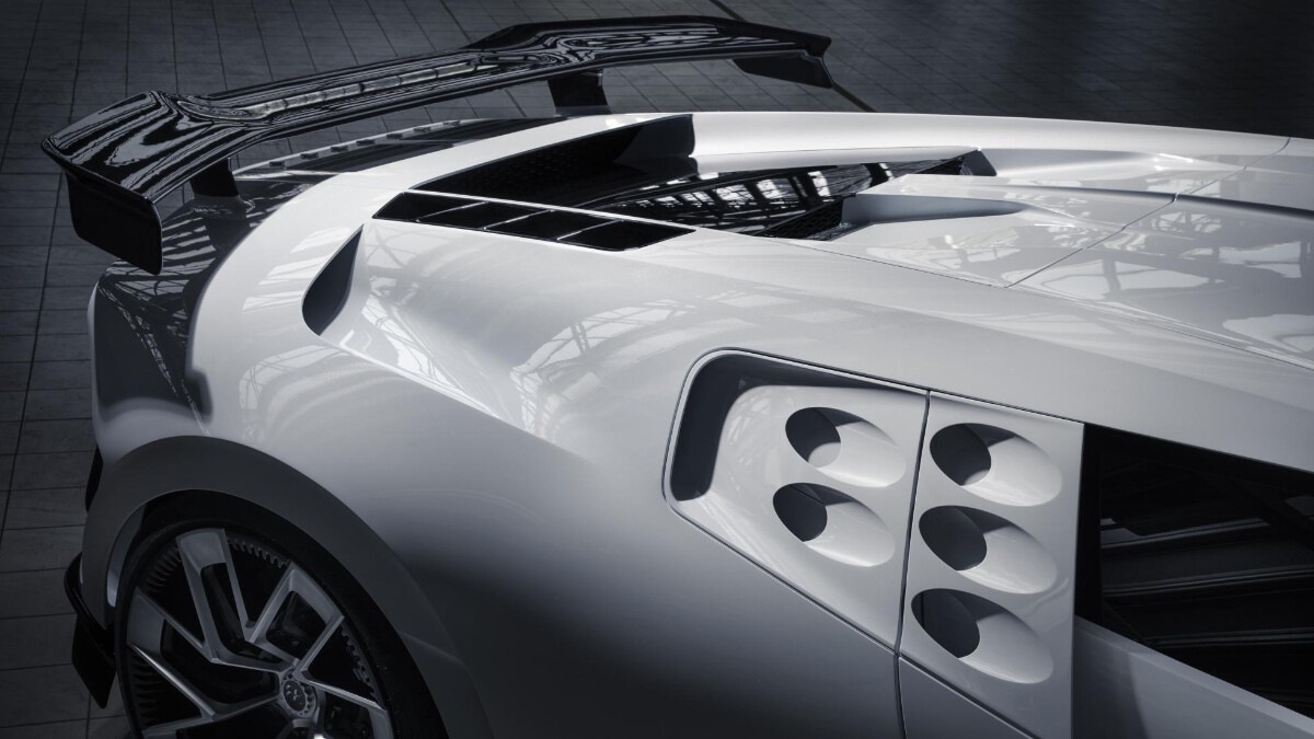 The Bugatti Centodieci rear with side vents visible