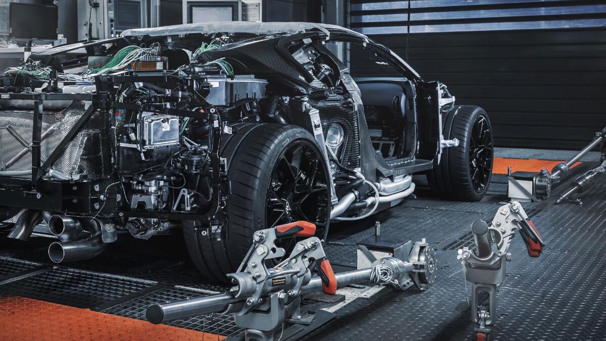 The Bugatti Centodieci rear view without the bodywork