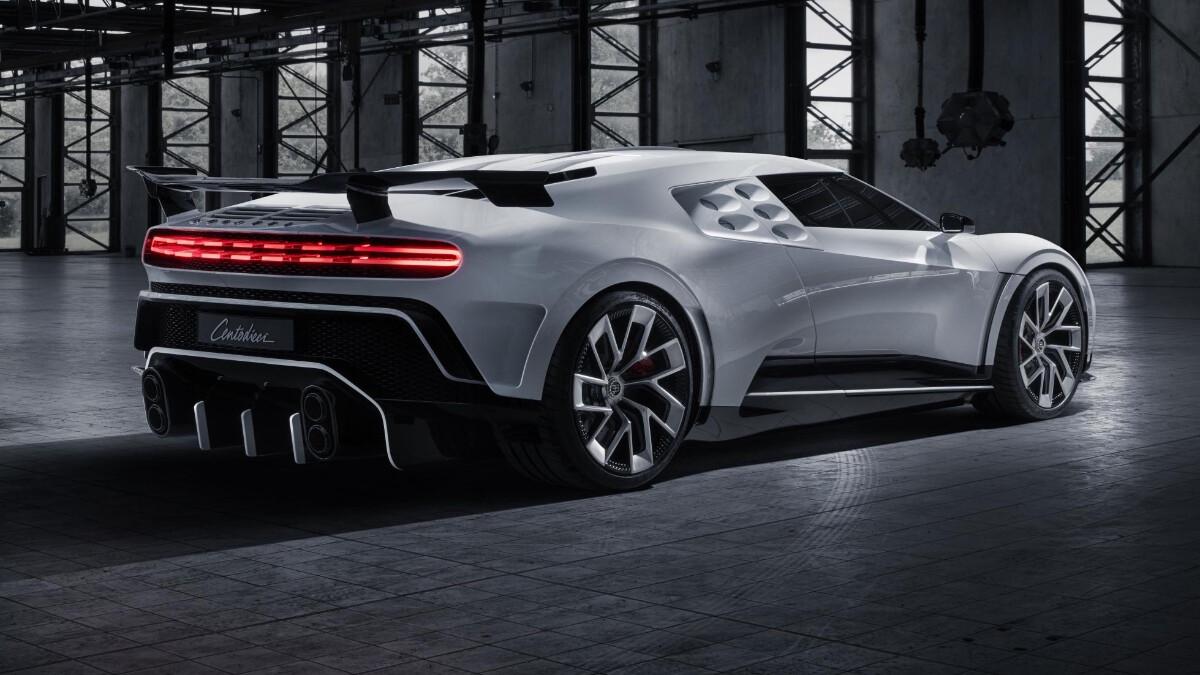 The Bugatti Centodieci angled rear view