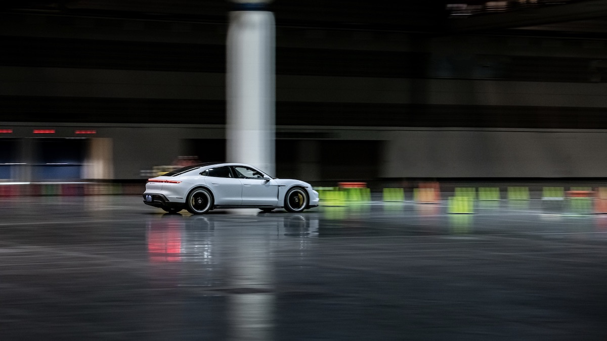 Porsche Taycan in action alternate angle