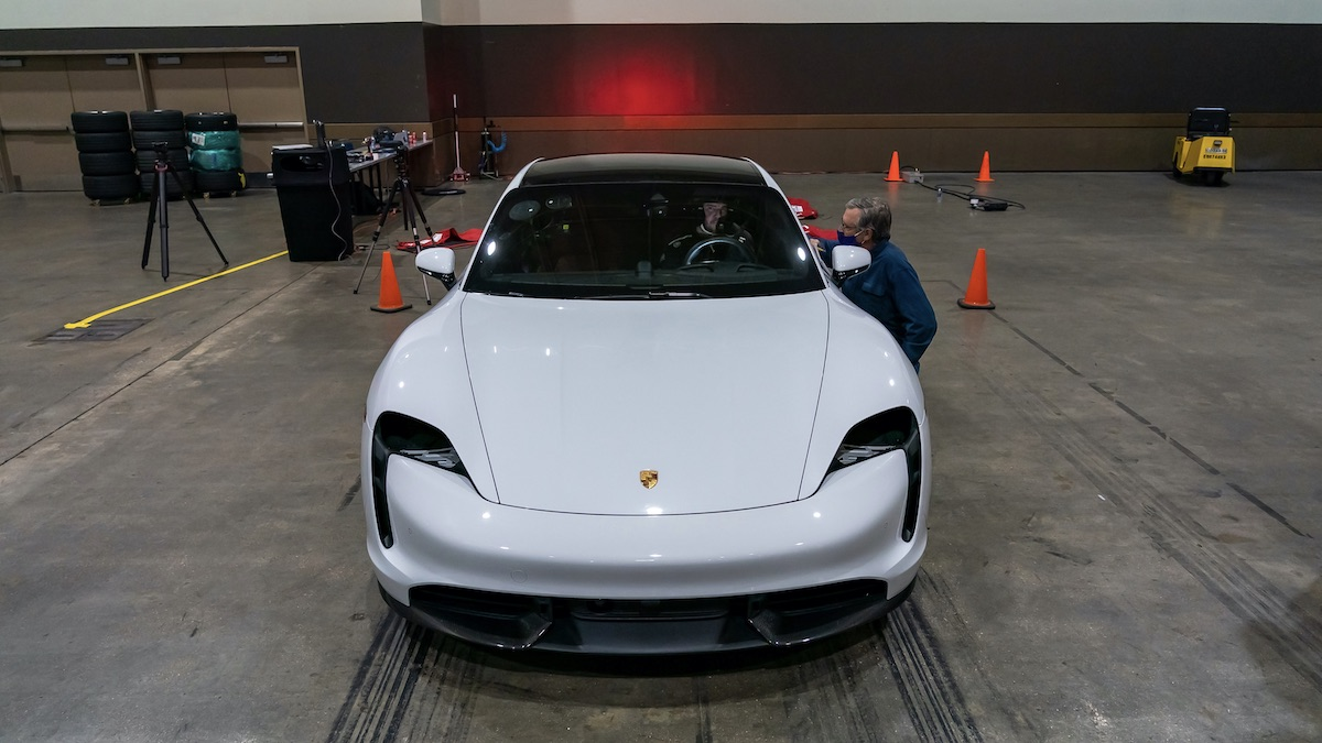 The Porsche Taycan at the Ernest N. Morial Convention Center in New Orleans