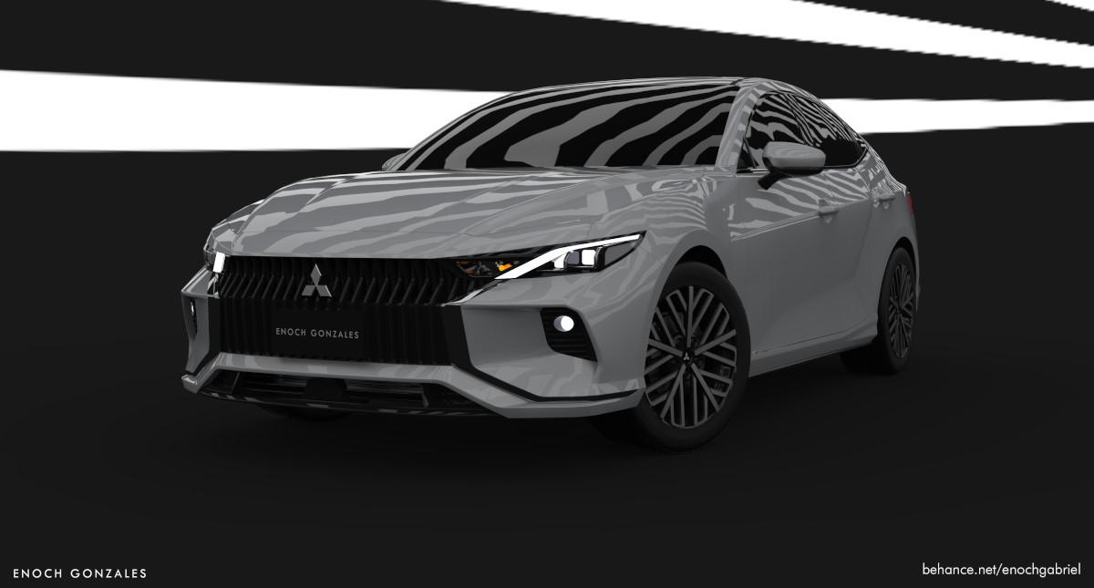 Mitsubishi Lancer concept white angled front view