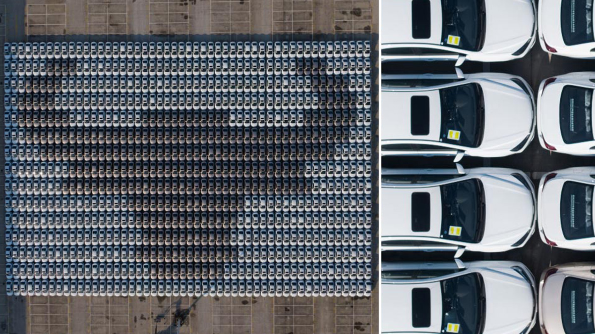 Geely Dihao units and arranged to form the planet's largest car mosaic
