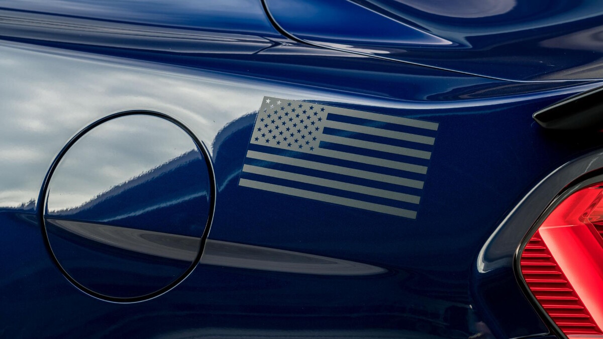 The Stage 3 Ford Mustang  fill cap and flag