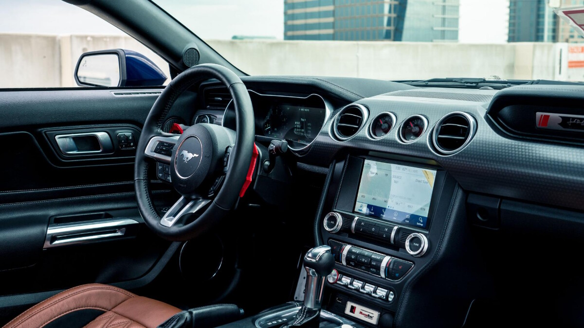 The Stage 3 Ford Mustang dashboard and steering wheel