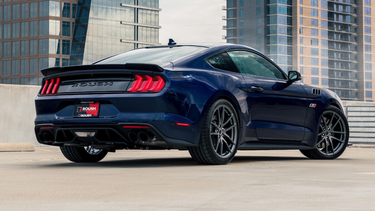The Stage 3 Ford Mustang angled rear view