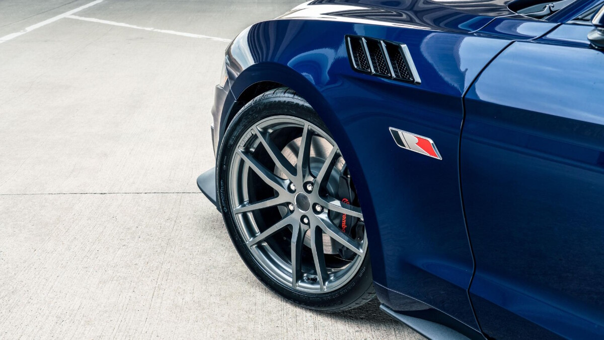 The Stage 3 Ford Mustang front wheel close up