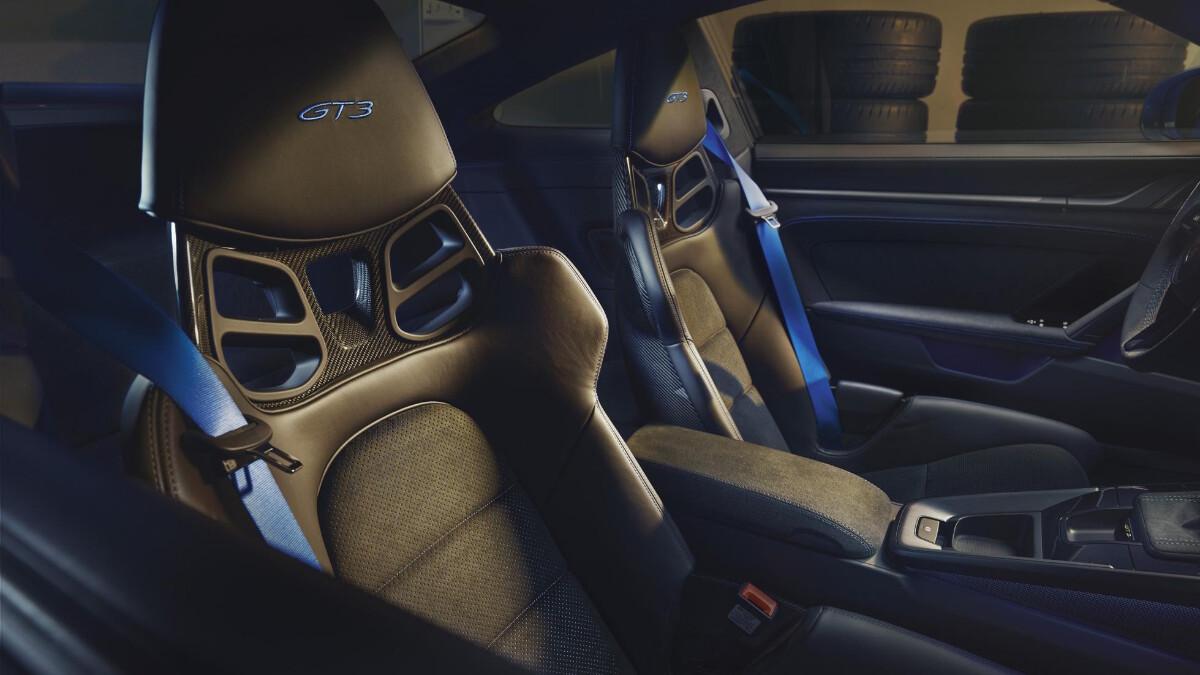 Porsche 911 GT3 interrior passenger-side POV