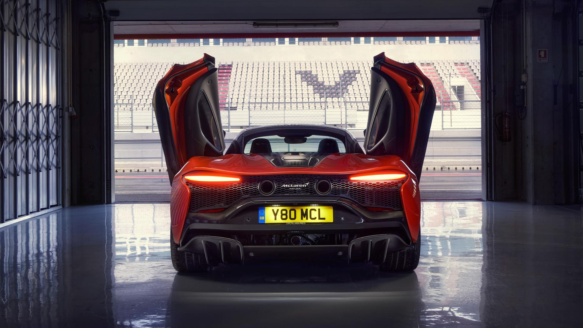 McLaren Artura rear view doors open