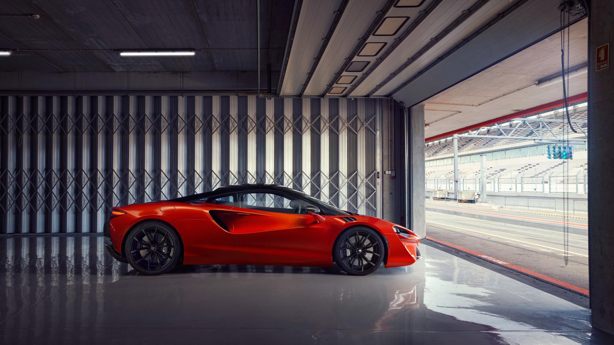 McLaren Artura parked indoors