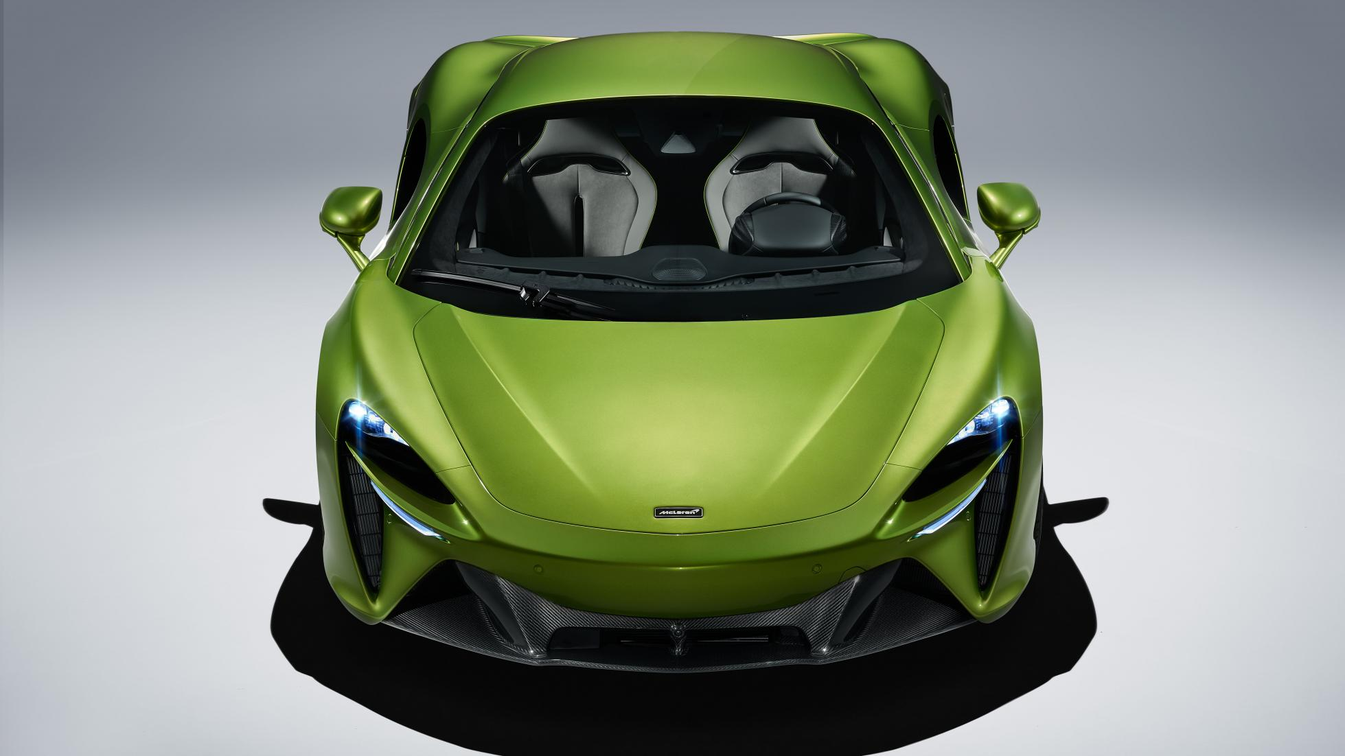 McLaren Artura in Flux Green front top view