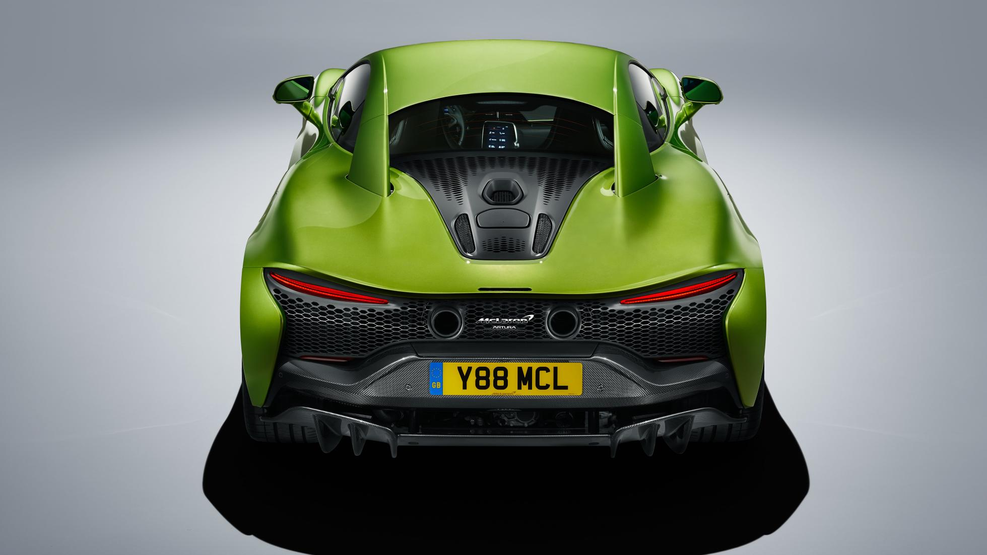 McLaren Artura in Flux Green rear top view