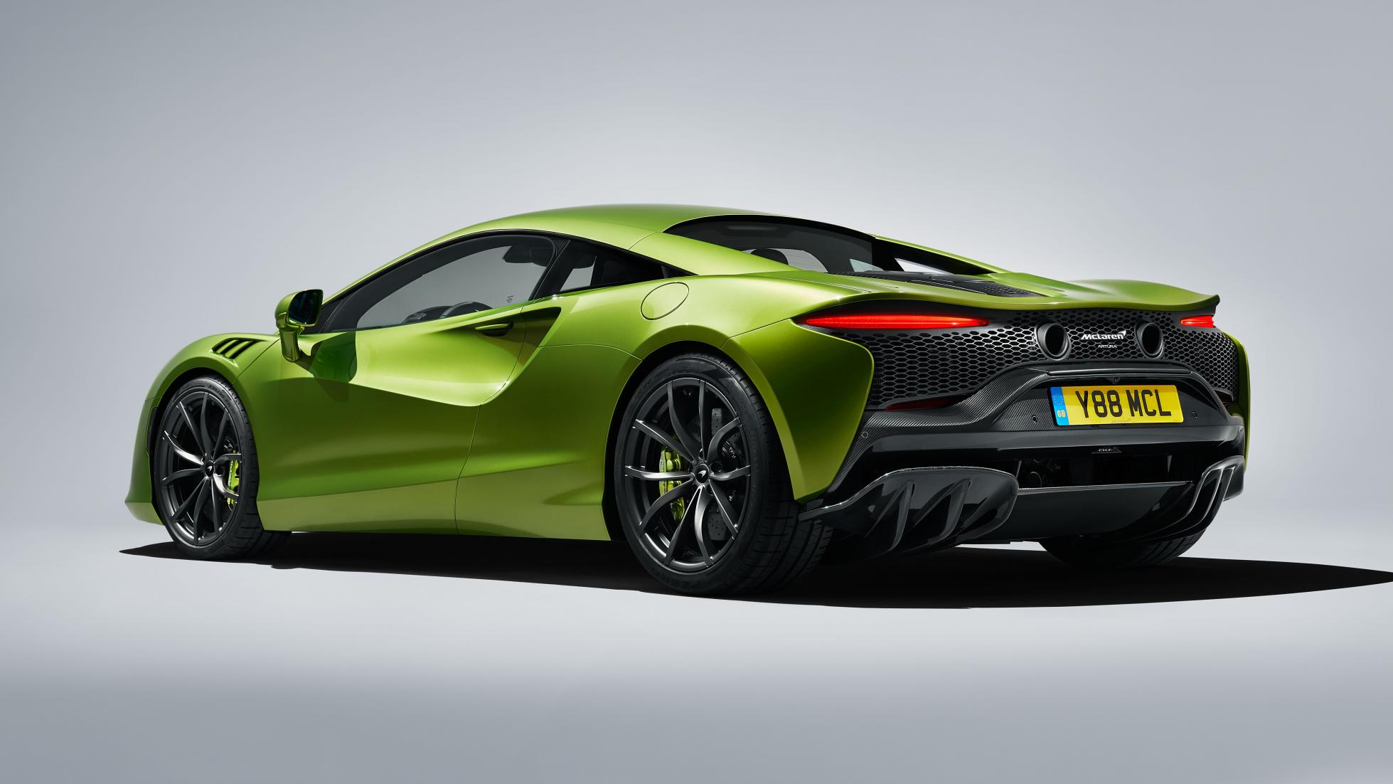 McLaren Artura in Flux Green angled view