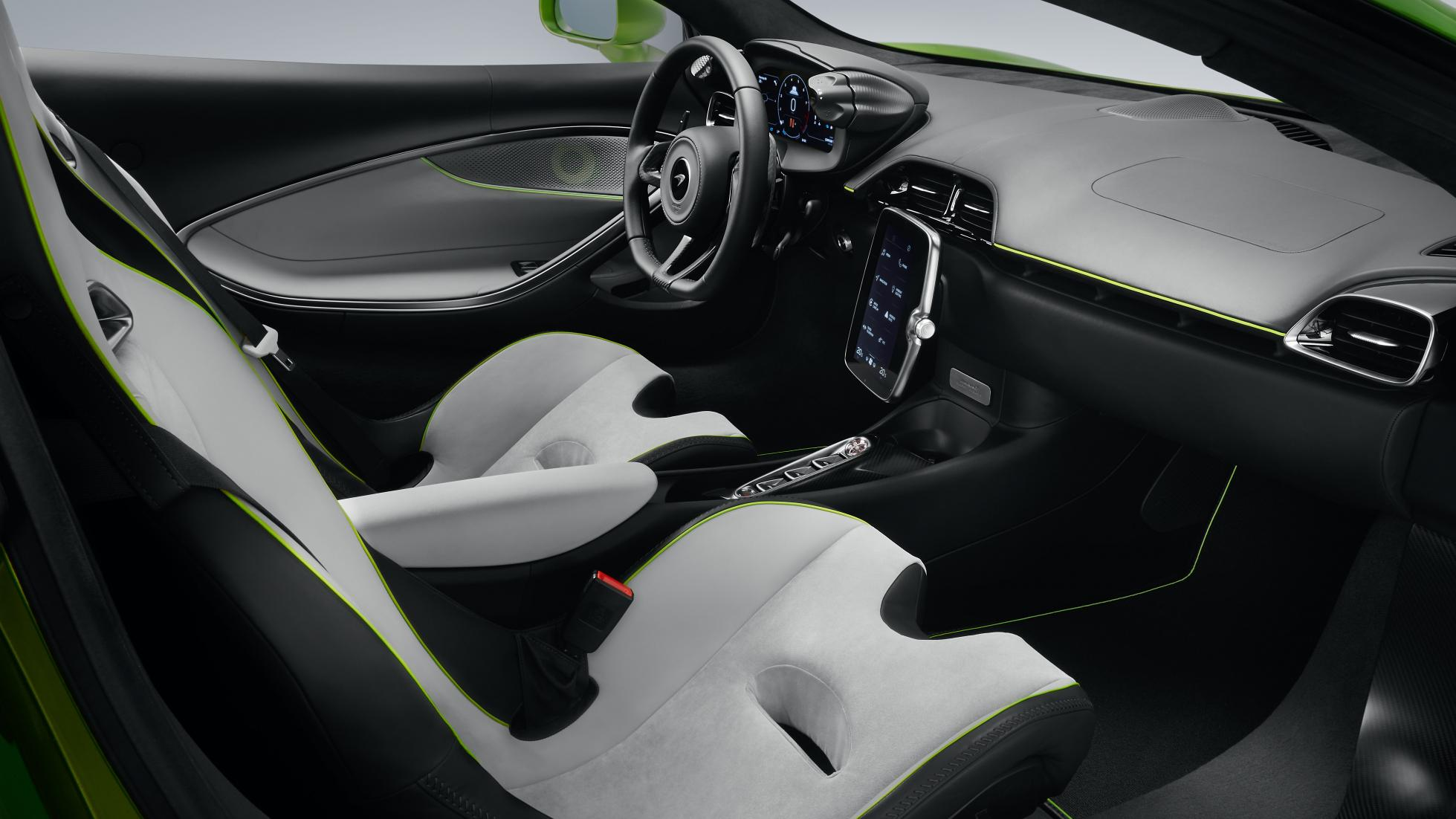 McLaren Artura in Flux Green passenger seats and dashboard