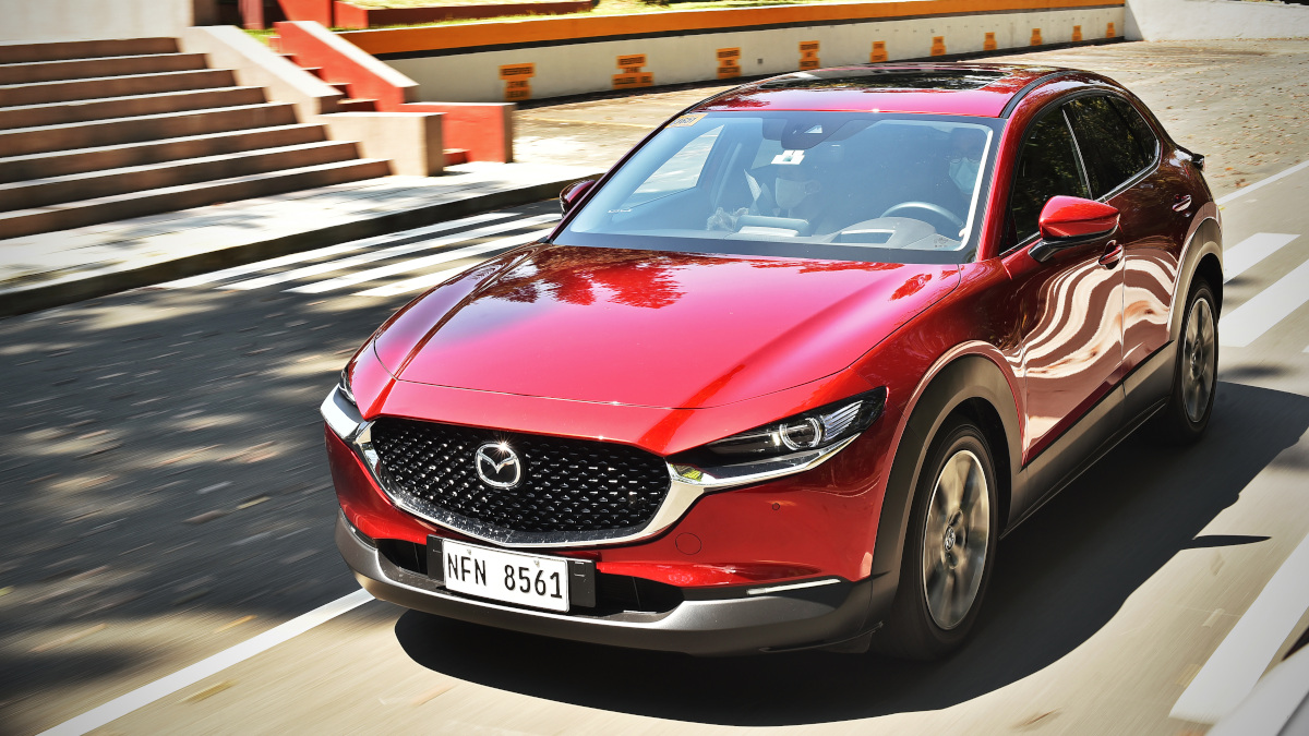 The Mazda CX-30 angled front view
