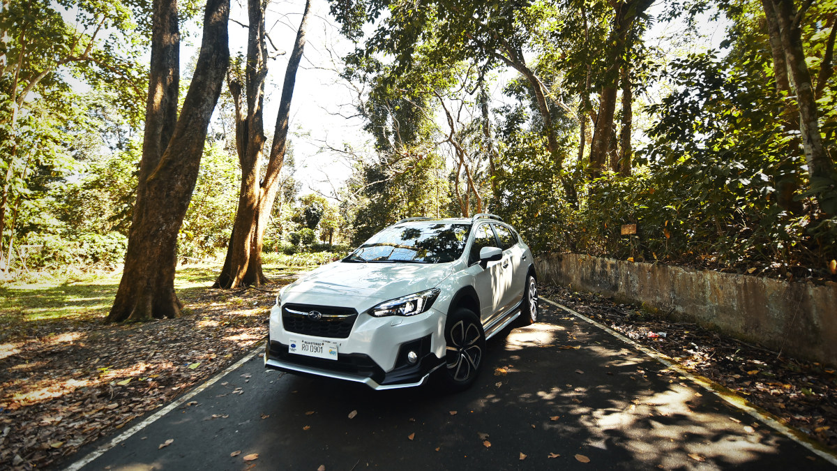 The Subaru XV on the road angled front view