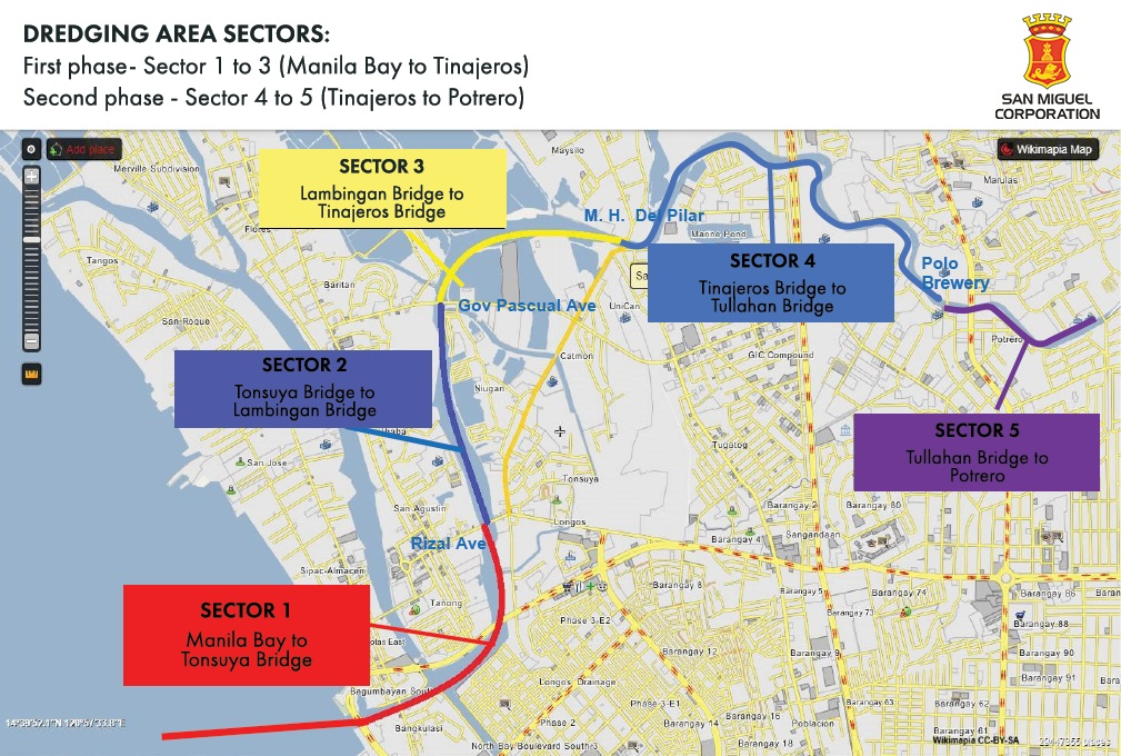 Map of operations for the Tullahan-Tinajeros river system cleanup