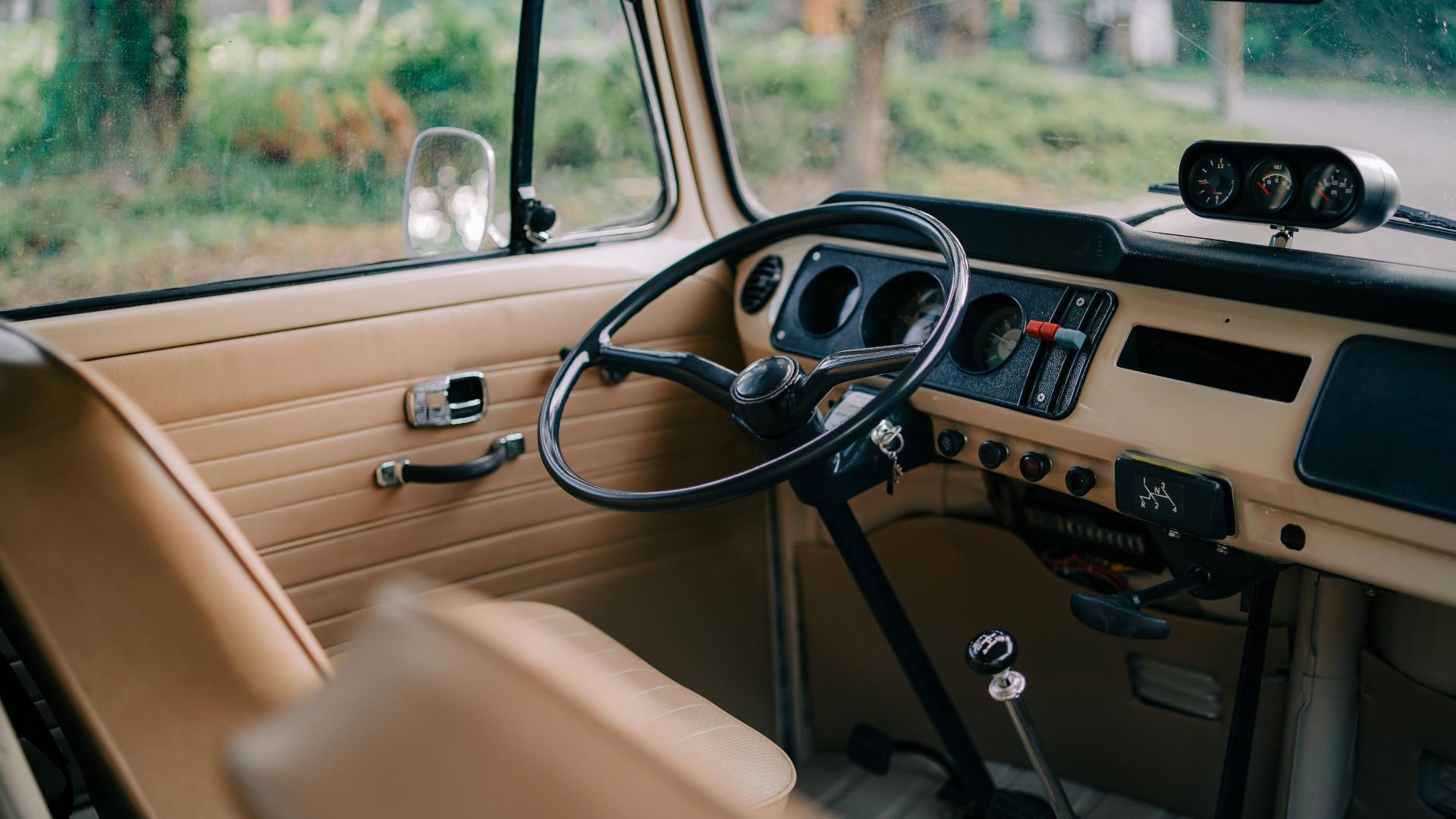 Volkswagen Type 2 steering wheel and dashboard