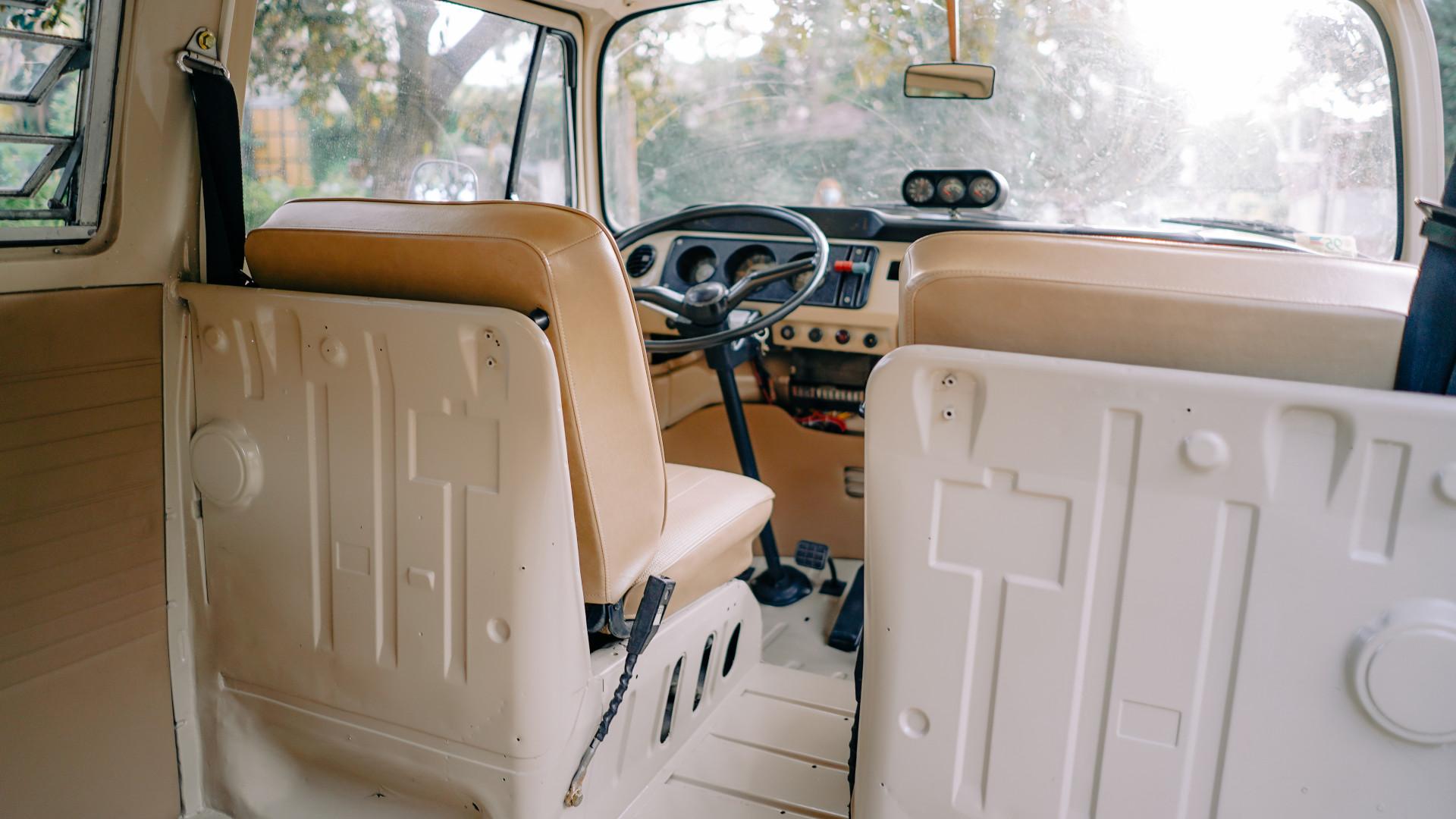 Volkswagen Type 2 front passenger seats rear POV
