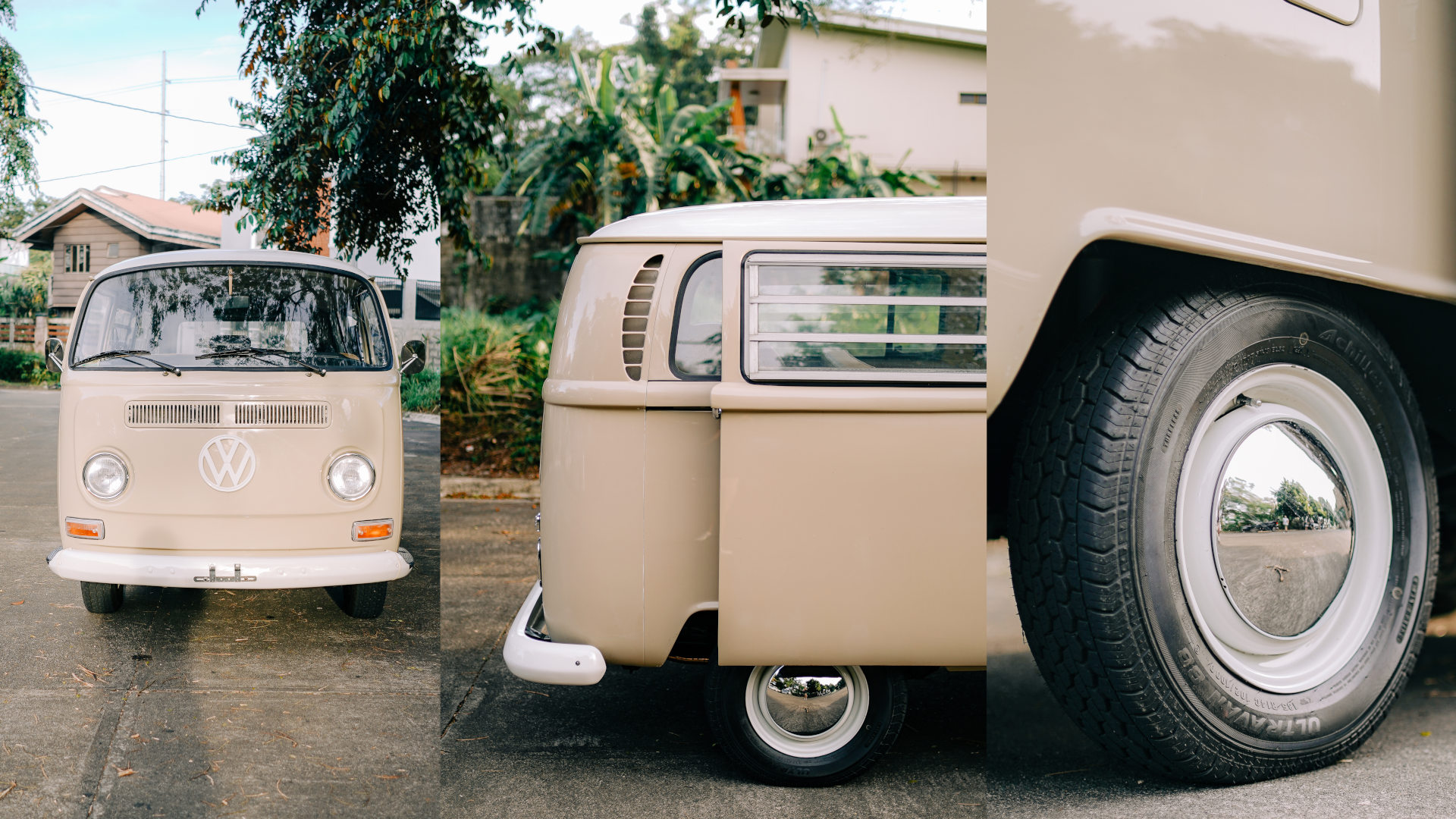 Volkswagen Type 2 front, sliding doors, and wheel details