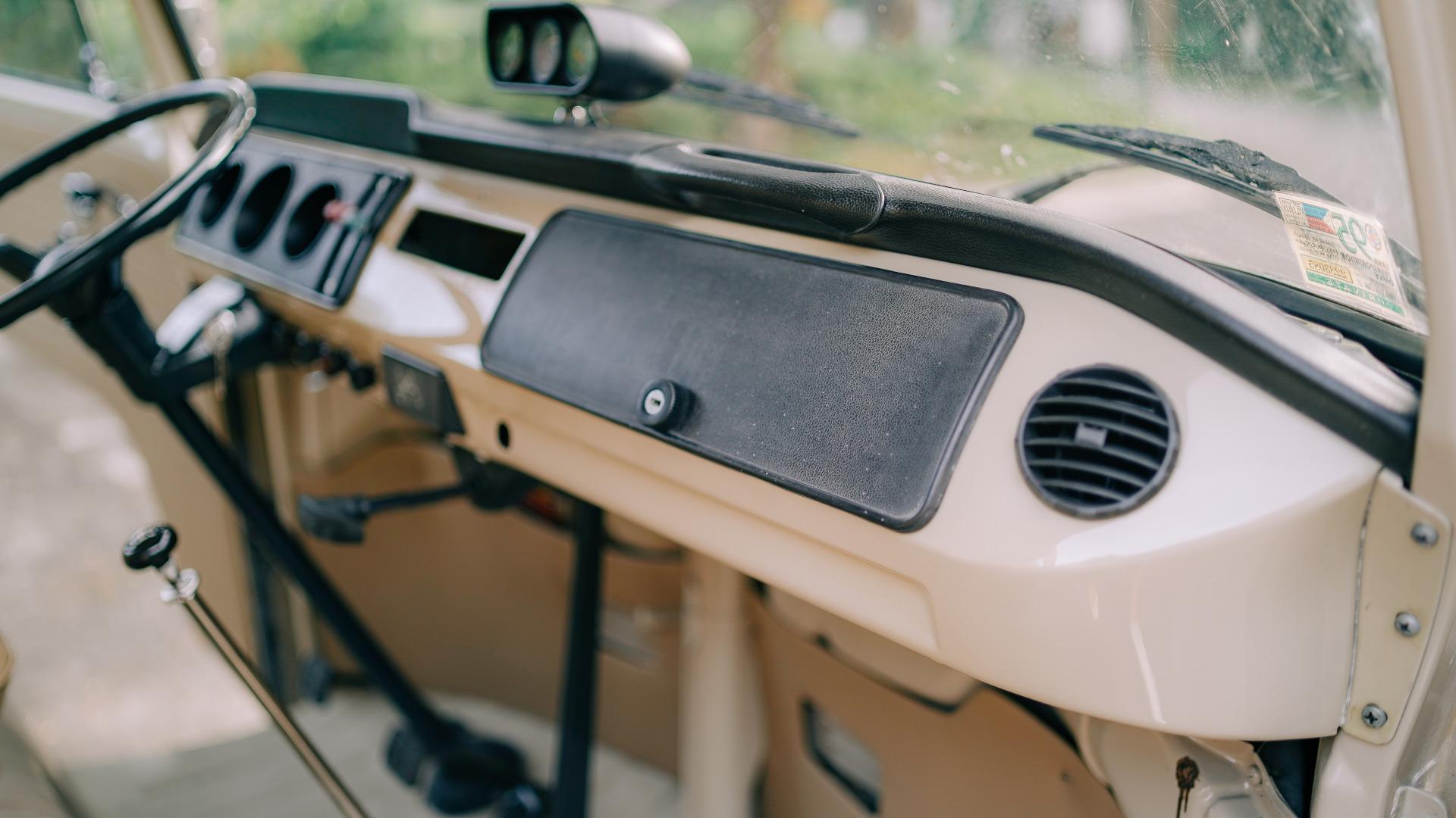 Volkswagen Type 2 dashboard fron front passenger seat POV